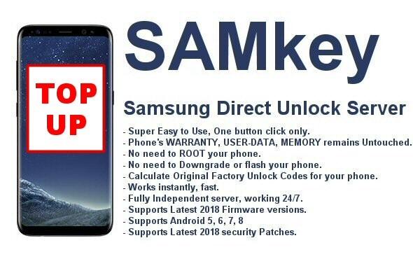 TopUp Existing Samkey Samsung Unlock Server Account
