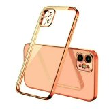 For iPhone 12 Pro Max - Clear Silicone Case With Rose Gold Edge