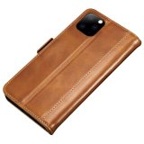 Luxury PU Leather Magnetic Flip Case Card Holder For iPhone 11 Pro - Tan