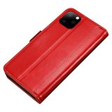 Luxury PU Leather Magnetic Flip Case Card Holder For iPhone 11 - Red