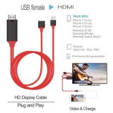 USB Female to HDMI 1080P HD TV Adapter Cable for Samsung / iPhone