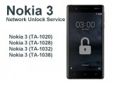 Nokia 3 TA-1020 Network Unlock Service (mail-in service)