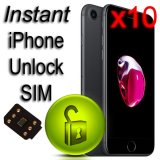PACK OF 10 Instant iPhone Unlock SIM for ALL iPhones Latest iOS 2018 V2