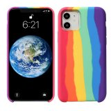 For iPhone 11 - Gay Pride Rainbow Multicoloured Liquid Silicone Cover Case