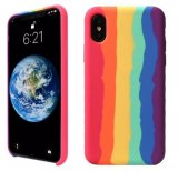 For iPhone XS Max - Gay Pride Rainbow Multicoloured Liquid Silicone Cover Case