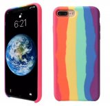 For iPhone 7 Plus, 8 Plus - Gay Pride Rainbow Multicoloured Liquid Silicone Case