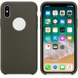 For iPhone X - Smooth Liquid Silicone Case Dark Olive