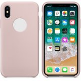 For iPhone X - Smooth Liquid Silicone Case Pink Sand