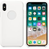 For iPhone X - Smooth Liquid Silicone Case White