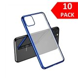 For iPhone 11 Pro - Bulk Pack of 10 X Clear Silicone Case With Blue Edge