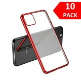 For iPhone 11 Pro - Bulk Pack of 10 X Clear Silicone Case With Red Edge