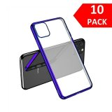 For iPhone 11 Pro - Bulk Pack of 10 X Clear Silicone Case With Purple Edge