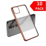 For iPhone 11 Pro Max - Bulk Pack of 10 X Clear Silicone Case With Rose Gold Edge