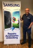 Phone Repair Pull Up Banner Stand - Samsung Repairs Accessories Unlocking