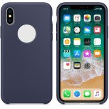 For iPhone X - Smooth Liquid Silicone Case Midnight Blue