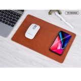 YK Qi Wireless Charger Mouse Mat for iPhone 8/X Samsung - Brown