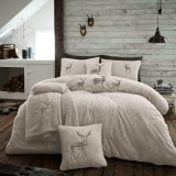 Single Teddy Super Soft Snug Duvet Set With 1 Pillow Case - Embroidered Stag / Natural