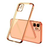 For iPhone 12 - Clear Silicone Case With Rose Gold Edge