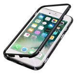 Magnetic Absorption Metal Edge & Glass Back Case for iPhone 6 - Black