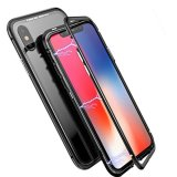 Magnetic Absorption Metal Edge & Glass Back Case for iPhone Xs - Black