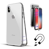 For iPhone Xs - White Magnetic Absorption Metal Edge & Glass Back Case