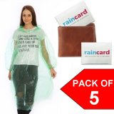 Pack of 5 X Rain Cards - Emergency Disposable Pocket Poncho For Your Wallet