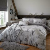 Single Teddy Super Soft Snug Duvet Set With 1 Pillow Case - Murray Stag / Grey