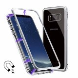 Magnetic Absorption Metal Edge & Glass Back Case for Samsung Galaxy S8 Plus - White