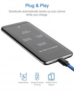 SAVEBUDS Intelligent Smart Data Backup & Fast Charging Cable - Type C Connection