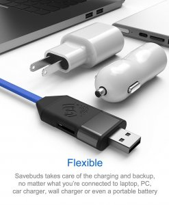 SAVEBUDS Intelligent Smart Data Backup & Fast Charging Cable - MicroUSB Connection