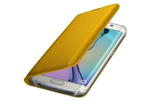 Flip Wallet Cover Case For Samsung Galaxy S6 Edge in Yellow